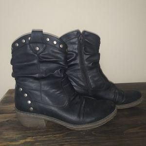 Heeled studded black zip up booties